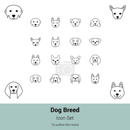 Dog breed icon set