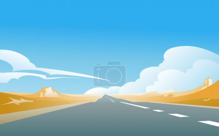 Illustration for The illustration of an asphalt road, aiming for a horizon in the deserted  landscape, with a blue sky and some clouds in the background. Empty space leaves room for design elements or text. - Royalty Free Image