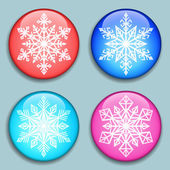White Snowflakes Snowflakes 3D Buttons with shadows isolated on the color background Modern style Snowflake medals set Winter series labels logo badges icons Vector illustration
