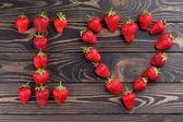 Slova miluji tě sečtělý s čerstvou jahodou organických