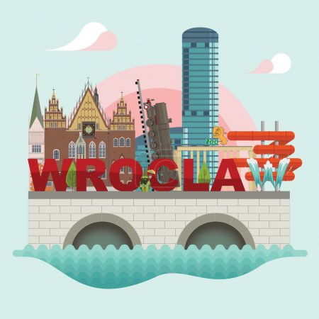 Flat modern vector of Wroclaw