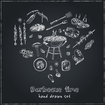 Illustration for Vector hand drawn set with barbecue tools on black chalkboard. Vintage illustration for design menus, recipes and packages product. - Royalty Free Image