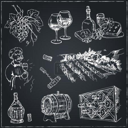 Set of wine drawings.