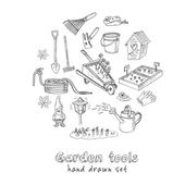 Garden tools doodle set Various equipment and facilities for gardening and agriculture  Vintage illustration for identity design decoration packages product and interior decorating