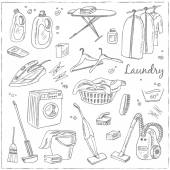 Laundry themed doodle set Various equipment and facilities for washing drying and ironing clothes  Vintage illustration for identity design decoration packages product and interior decorating