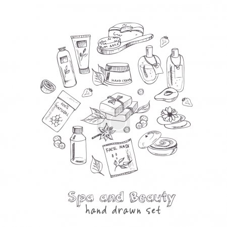 Illustration for Spa beauty and care vector hand drawn elements. - Royalty Free Image