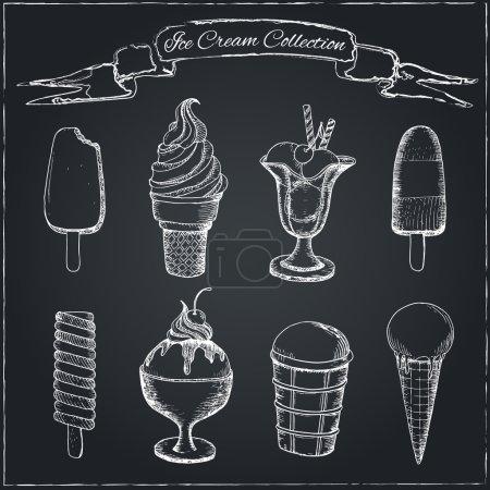 Illustration pour Crème glacée dessinée à la main sur tableau. Peut être utilisé dans le menu du restaurant, livres de cuisine et étiquettes . - image libre de droit