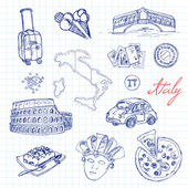Set of italian drawings Sketches Hand-drawing Vector illustra