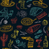 Vector hand drawn seamless pattern Mexican food vegetables tequila burrito tacos and other mexican eating  Vintage illustration for design menus recipes and packages product