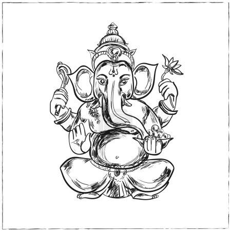 Illustration pour Illustration vectorielle dessinée à la main de Sitting Lord Ganesha dans Mandala Frame. Pour tatouage, yoga, spiritualité . - image libre de droit
