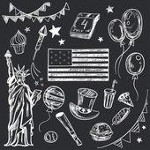 Šťastný Memorial Day americké tématickém doodle sada