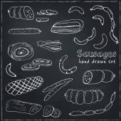 Sausages set Hand drawn vector illustrations Freehand food icons for restaurant menu or food package design