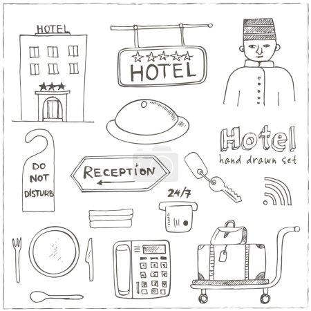 Hotel set doodle sketch