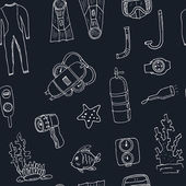 Doodle seamless pattern of diving tools Vintage illustration for identity design decoration packages product and interior decorating