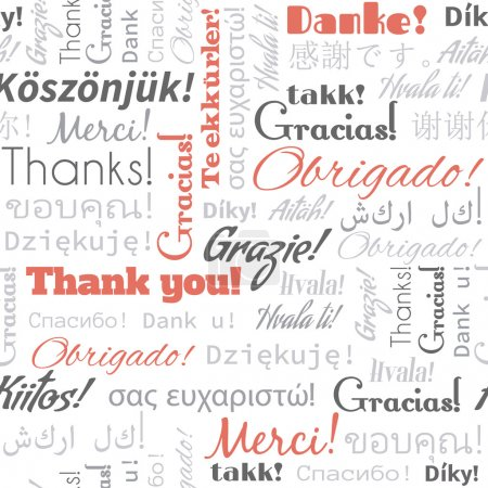Illustration for Thank you in different languages words, tags. Seamless pattern - Royalty Free Image