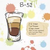 B-52 Hand drawn illustration of cocktail