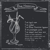 Blue Hawaiian. Ruky nakreslené ilustrace cocktai