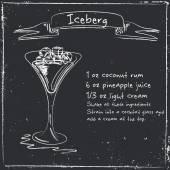 Ledovec. Ruky nakreslené ilustrace cocktai