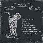 Mojito. Ručně kreslenou ilustrace koktejl