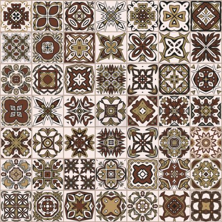 Illustration for Seamless patchwork pattern, Moroccan tiles, ornaments. - Royalty Free Image