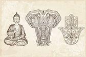 Indian Hamsa Elephant and Buddha