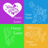 Set of white stickers on a colored background for greetings for