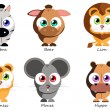Set funny animals for use as stickers, in books, g...