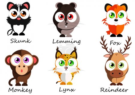 Illustration for Wild. Set cute animals for use as stickers, images in books, lessons, games and other projects for kids - Royalty Free Image
