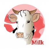 Vector illustration of a white cow (milk)