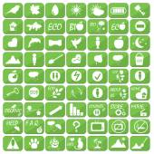 Set of icons illustrations and logos on the theme of ecology and healthy lifestyle