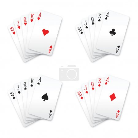 Royal flush playing cards (hearts, clubs, spades and diamonds)