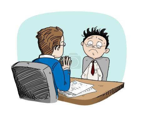 Illustration pour Un vecteur dessiné main doodle illustration d'un demandeur d'emploi interviewé par l'employeur, isolé sur un fond simple (modifiable). - image libre de droit