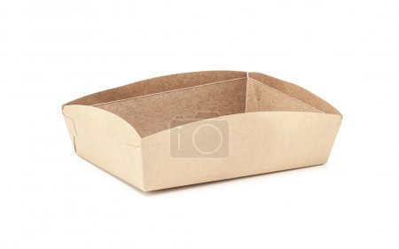 kraft paper tray packaging isolated on white background