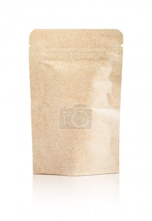 blank packaging recycled kraft paper pouch isolated on white background