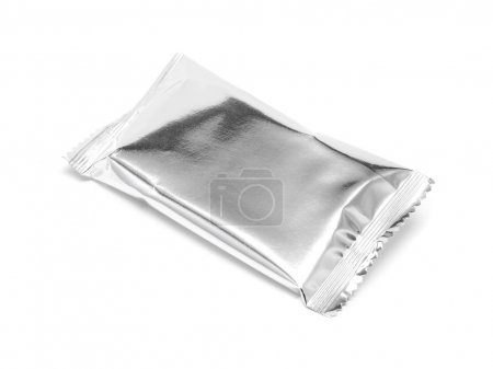 blank snack foil packaging isolated on white background