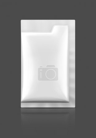 Blank packaging foil sachet isolated on gray background