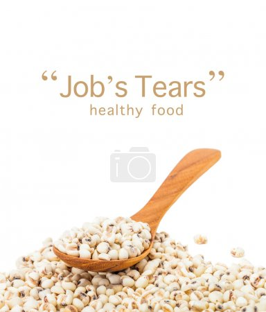 Photo pour Emplois déchire graines de grain avec cuillère en bois isolé sur fond blanc - image libre de droit