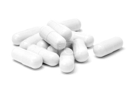 Photo for White medicine capsules isolated on white background - Royalty Free Image