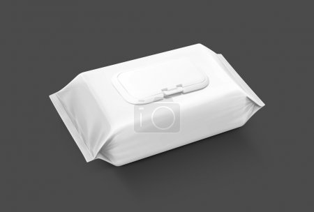 blank packaging wet wipes pouch isolated on gray background