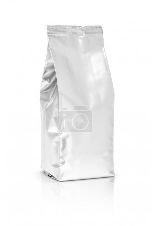 Photo for Blank packaging foil pouch isolated on white background - Royalty Free Image