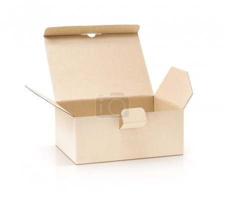Photo for Cardboard kraft box open and isolated on white background with clipping path - Royalty Free Image