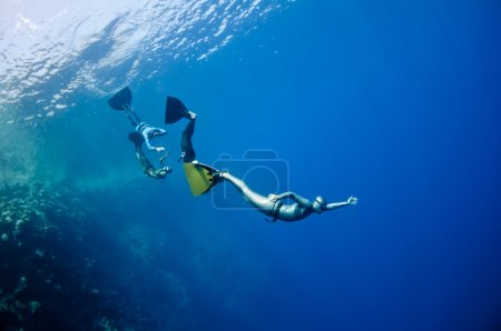 Funny freediving games at the Red Sea