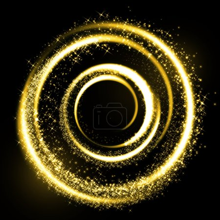 Gold light trail circle. Glitter sparkle swirl.