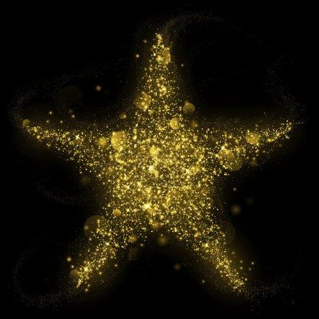 Gold glittering star shape of blinking stars...