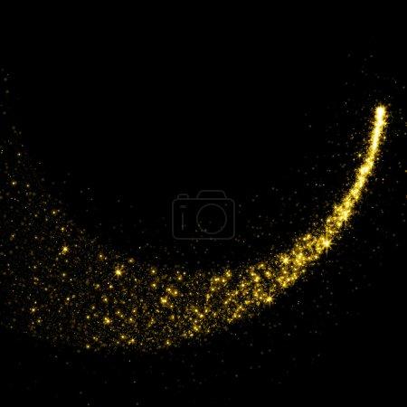 Photo pour La poussière des étoiles scintillantes or queue sur fond noir - image libre de droit