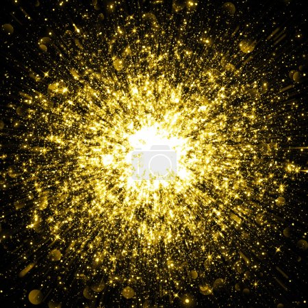 Sparkling glittering space explosion