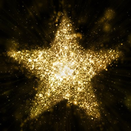 Photo for Gold glitter star of defocised blinking stars - Royalty Free Image