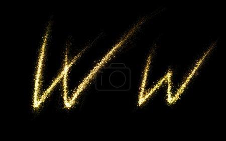 w Buchstabe von Gold glitzernden Sternen Staub gedeihen Schweif