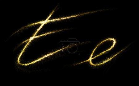 Photo pour Lettre E d'or scintillantes étoiles queue de poussière s'épanouir. Concept de polices étincelante - image libre de droit