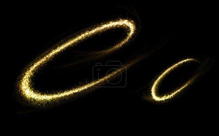 Photo pour C lettre d'or scintillantes étoiles queue de poussière s'épanouir. Concept de polices étincelante - image libre de droit